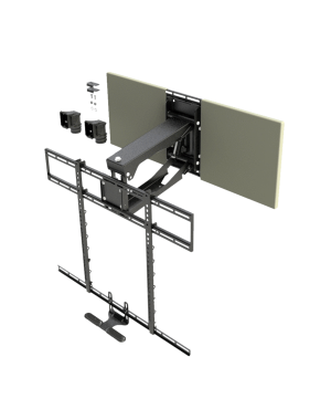 MantelMount - Pull Down TV Mount w/Full Motion for 45+ Inch Flat Screen TV's w/Sound Bar Adapter